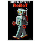 Battery Operated Robot Toy Wall Decal Sci-Fi Vintage Style Geek Decor
