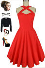 50s Style RED Caged Heart CRISS-CROSS Halter Fit-N-Flare Sun Dress w/ POCKETS!