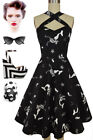 50s Style Black MERMAID Print Caged Heart CRISSCROSS Halter Sun Dress w/POCKETS!