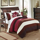 Cathy Microsuede Burgundy, Brown, Ivory 11 Piece Comforter Bed In A Bag Set