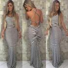 Elegant Womens Striped Dress Evening Party Cocktail Club Sleeveless Dresses Club