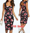 Usa Women Vintage Sleeveless Bodycon Casual Party Evening Cocktail Mini Dress
