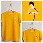 Actual Fact Bruce Lee Embroidered Yellow Martial Arts Tee T-shirt