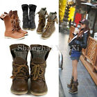 Womens Slouchy Combat Leather Lace Up Military Ankle Boots Punk Biker Shoes