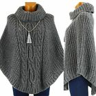 Poncho laine mohair grosses mailles hiver Gris ELODIE GRIS