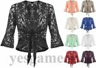 Womens Plus Size Sequin Lace Tie Up Ladies Crochet Party Bell top 3/4 Sleeve