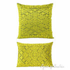 Yellow Decorative Embroidered Throw Pillow Cushion Cover Moroccan Boho Bohemian