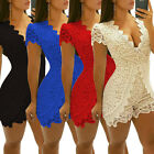 Elegant Women's Deep V-Neck Short Sleeve Summer Casual Lace Jumpsuits Rompers