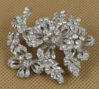 2Pcs Stunning Clear Rhinestone Bridal Flower Silver Brooch Pin Wedding Party
