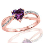 18k Rose Gold Plated Fashion Amethyst Heart Infinity w/ CZ Sterling Silver Ring