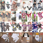2pcs/3pcs Newborn Toddler Baby Boy Girl Clothes T-shirt Tops+Pants Outfits Set