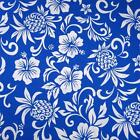 Hawaiian Print Cotton Fabric, Hala Kahiki & Kokio, White on Blue by Transpacific