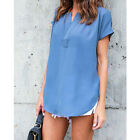 US Fashion Womens Summer Blue Short Sleeve Casual Blouse Loose Tops T-Shirt