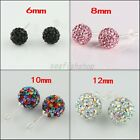 True CZ Czech Crystal Round Disco Ball Silver Stud Earrings 6mm 8mm 10mm 12mm