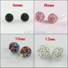 CZ Czech Crystal Round Disco Clay Ball Silver Stud Earrings 6mm 8mm 10mm 12mm