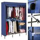 "Fabric Clothes Wardrobe Double Hanging Rod Closet Storage Organizer 68"" NX"