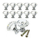 30mm Diamond Crystal Glass Door Knobs Drawer Cabinet Furniture Handle Knob Screw
