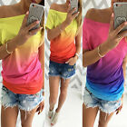 Women Girl Casual Gradient Short Sleeve Blouse Loose Ladies Summer T-Shirt Tops