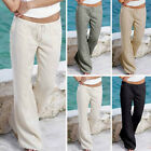 Womens Ladies Linen Trousers Pants Summer Casual Loose Holiday Beach Khaki Cargo