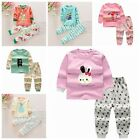 2Pcs Kids Girls Cartoon Long Sleeve T-Shirt Pants Pajamas Sleepwear  Outfits Set