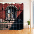 Red walls and ancient windows Fabric shower curtain set Bathroom decor 71inch