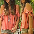 fashion Women Summer Loose Top Short Sleeve Blouse Ladies Casual Tops T-Shirt @