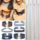 Ladies New Western Tie On Choker Goth Pop Fashion Denim Suede Necklace