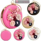 WOMENS NEW FAUX LEATHER FLOWER DECORATION ROUND EVENING CLUTCH BAG PURSE
