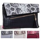 LADIES NEW FAUX LEATHER CROC SNAKESKIN CONTRASTING FLAP ZIP TASSEL CLUTCH BAG