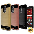 For ZTE Blade Spark (AT&T) Case Brushed Texture Hybrid Cell Phone Armor Cover