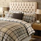 Superb Warm 100%  Brushed Cotton Grey & Taupe Classic check  Duvet Set.4 sizes