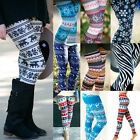 Us Women Leggings Xmas Reindeer Snowflake Printed Stretchy Skinny Leggings Pants