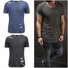 New Ripped Men Tee Shirt Slim Fit O Neck Short Sleeve Muscle Casual Tops T-Shirt