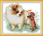 """Counted Cross Stitch Kits """"Pomeranian and Squirrel"""" 13''x9.8'' 11 CT / 14 CT DIY"""