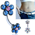 COOL Flower Crystal Rhinestone Navel Ring Belly Button Dangle Body Piercing 2017