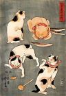 Four Cats in Different Poses by Utagawa Kuniyoshi Japanese Art Print Wall Decor