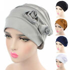 Cotton Wrinkle Cap Double Flower Floral Beanie Hats for Cancer Chemo Patients