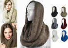 New Unisex Oversized Chunky Cable Knit Infinity Scarf Hat Hoodie Winter Bohemian