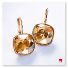 NEW Cushion Cut Golden Citrine Quartz Leverback Huggie Earrings