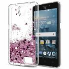 For ZTE Cell Phone Motion Liquid Quicksand Glitter Hybrid Rubber Case TPU Cover