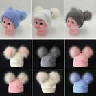 Newborn Baby Boy Girls Winter Warm Double Fur Pom Bobble Knit Beanie Hat Cap BKB