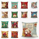 Vintage Cotton Linen Christmas Cushion Cover Throw Pillow Case Sofa Home Decor