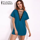 ZANZEA Damen Kurzarm Lace Up Short Minikleid Clubwear Sommerkleid Sundress Plus