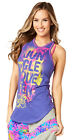 ZUMBA  Queen of the Jungle High Neck Tank Purple S,M,L,XL