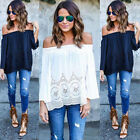 Casual Summer Women Blouse Off Shoulder Long Sleeve Lace Shirt Tops Sexy Slinky