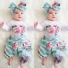 3pcs Newborn Baby Girl Floral Clothes Jumpsuit Romper Hairband Pant Outfit 0-24M