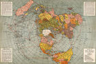 1943 Flat Earth Map of the World Polar Azimuthal Equidistant Projection Poster