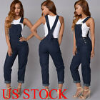 US Women Fashion Denim Jeans BIB Pants Overalls Straps Jumpsuit Rompers Trousers
