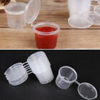 50Pcs/Set Small Plastic Sauce Cups Food Storage Containers Clear Boxes + Lids