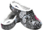 NEW Crocs Womens Freesail Graphic Fuzz Lined Warm Clog Grey Floral